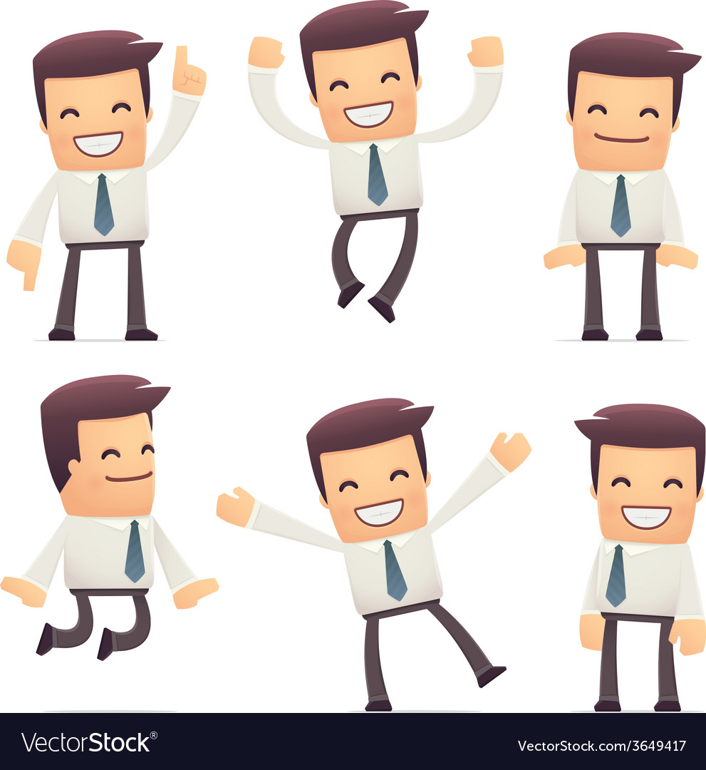 Set of manager character in different poses vector | Price: 1 Credit (USD $1)