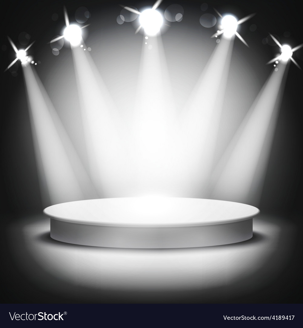 Studio with podium and spotlights grey show light vector | Price: 1 Credit (USD $1)