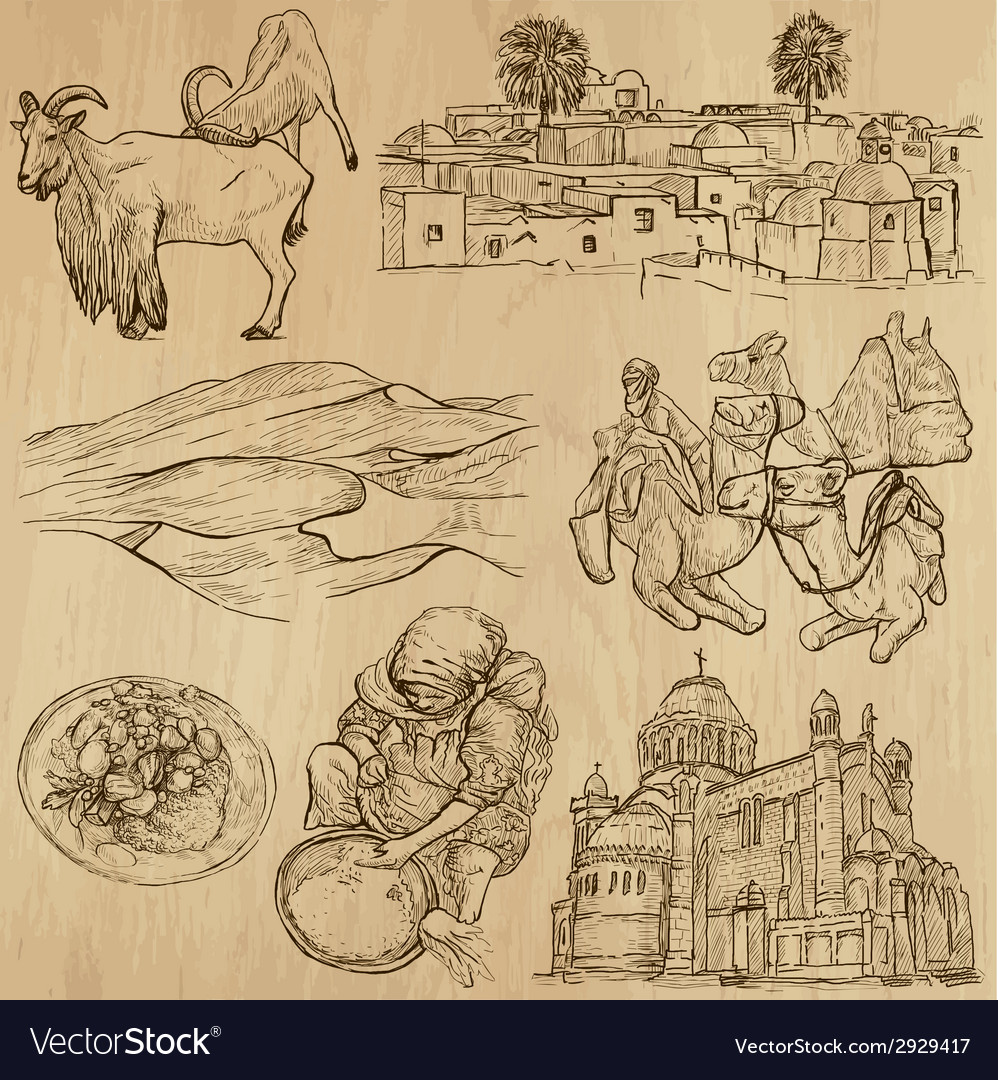 Traveling algeria - an hand drawn pack vector | Price: 1 Credit (USD $1)