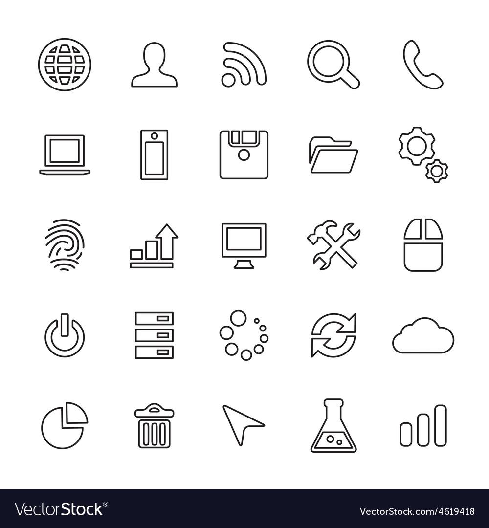 25 outline universal development icons vector | Price: 1 Credit (USD $1)