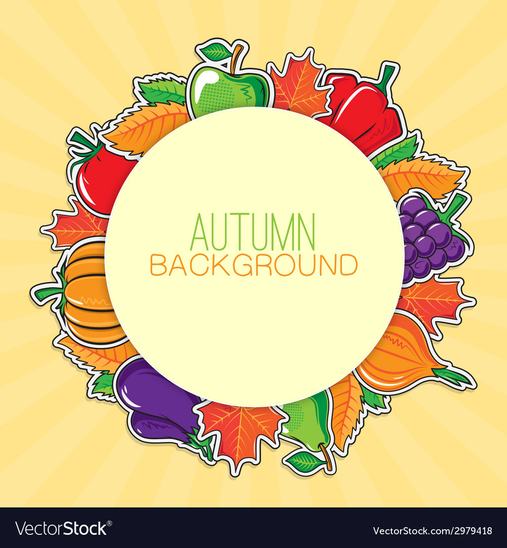 Autumn background with vegetables and fruits vector | Price: 1 Credit (USD $1)