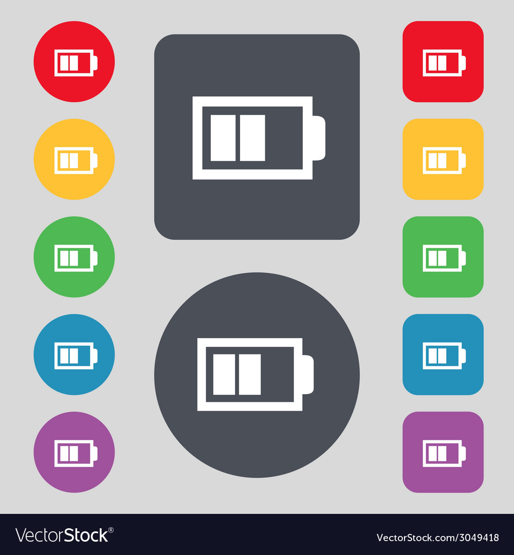 Battery half level sign icon low electricity vector   Price: 1 Credit (USD $1)