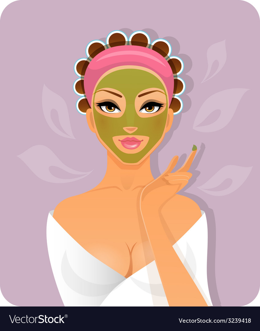 Beautiful woman with face-mask vector | Price: 1 Credit (USD $1)