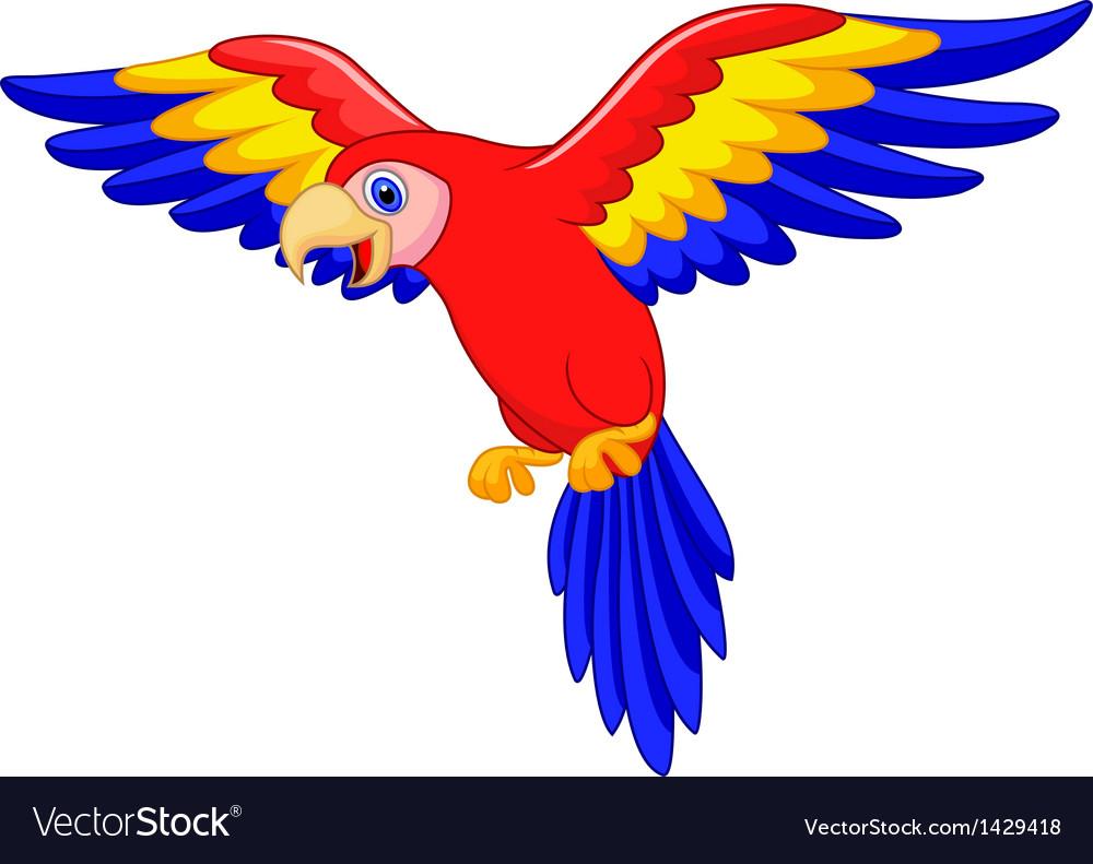 Cute parrot bird cartoon vector | Price: 1 Credit (USD $1)