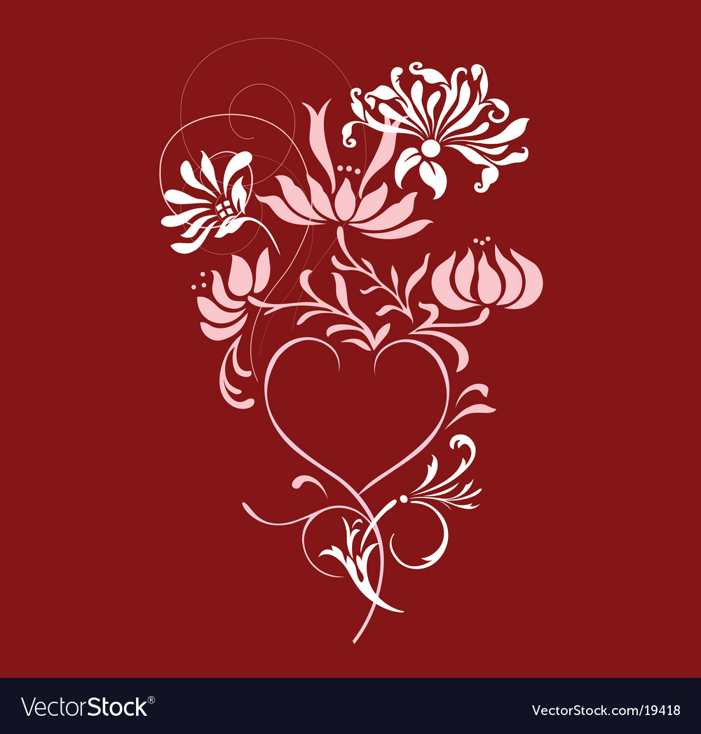 Floral heart design vector | Price: 1 Credit (USD $1)