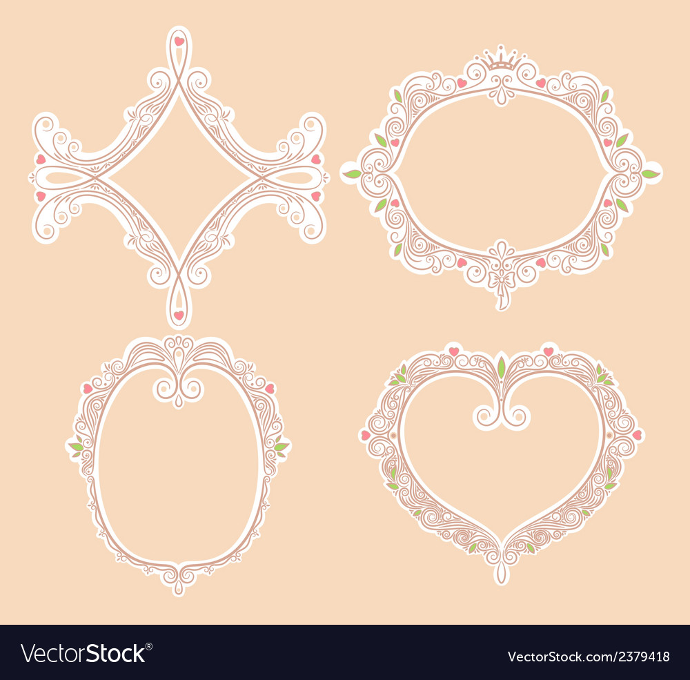 Four cute frames vector | Price: 1 Credit (USD $1)