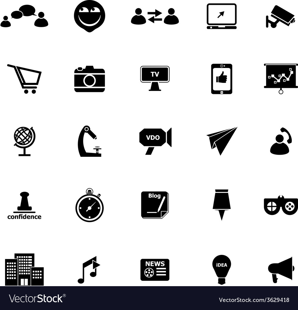 Media marketing icons on white background vector | Price: 1 Credit (USD $1)