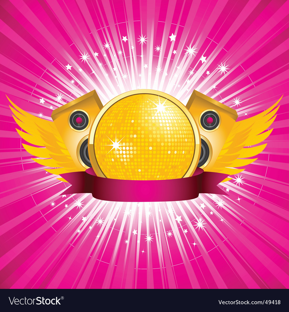 Orange disco ball and speakers vector | Price: 1 Credit (USD $1)