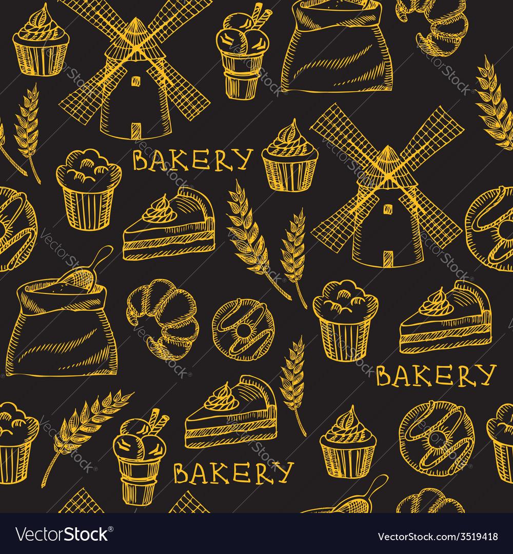 Seamless bakery pattern retro design vector   Price: 1 Credit (USD $1)