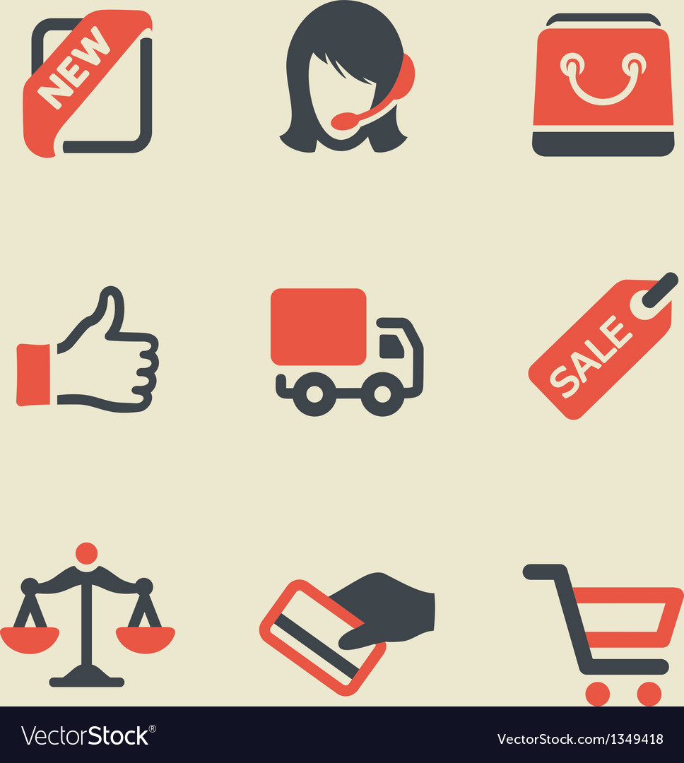 Shopping black and red icon set vector | Price: 1 Credit (USD $1)