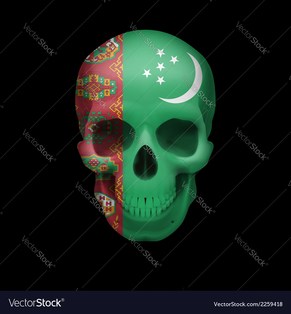 Turkmenian flag skull vector | Price: 1 Credit (USD $1)
