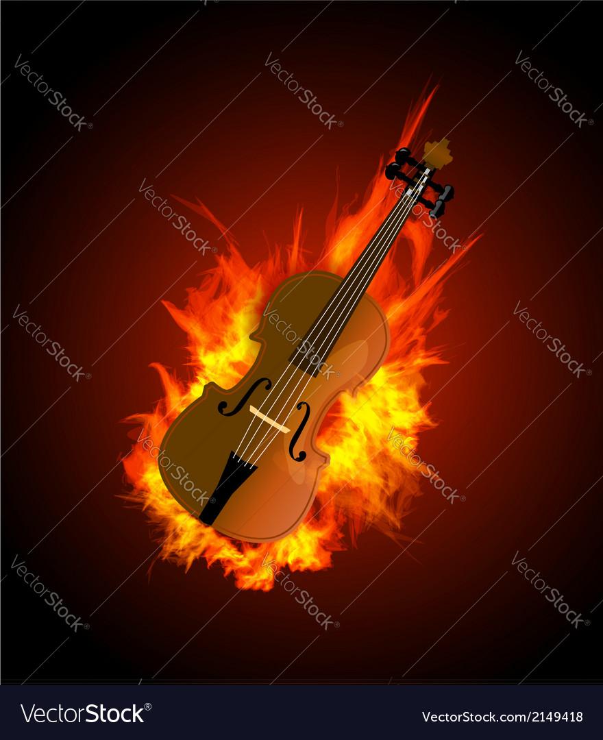 Violin in fire vector | Price: 1 Credit (USD $1)