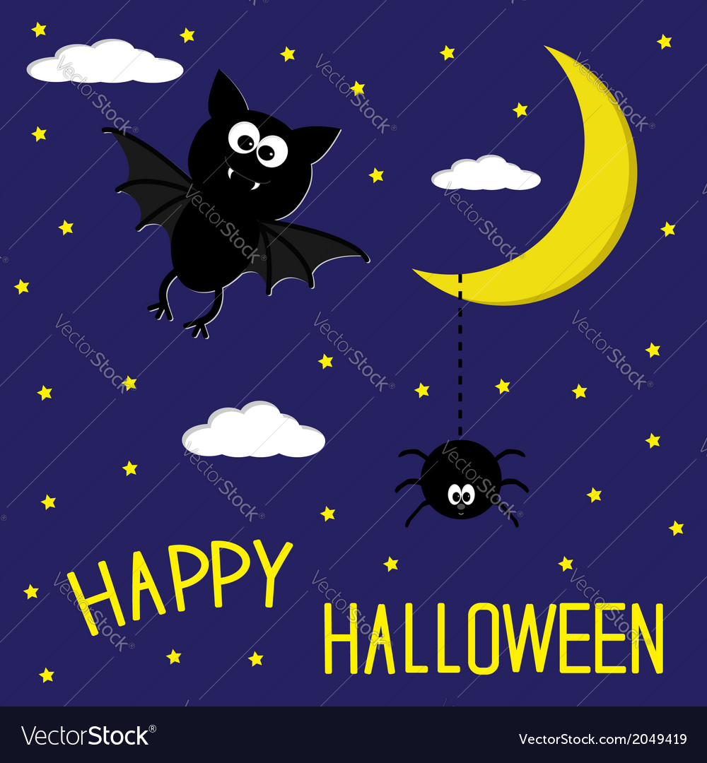 Bat and spider starry night moon halloween card vector | Price: 1 Credit (USD $1)