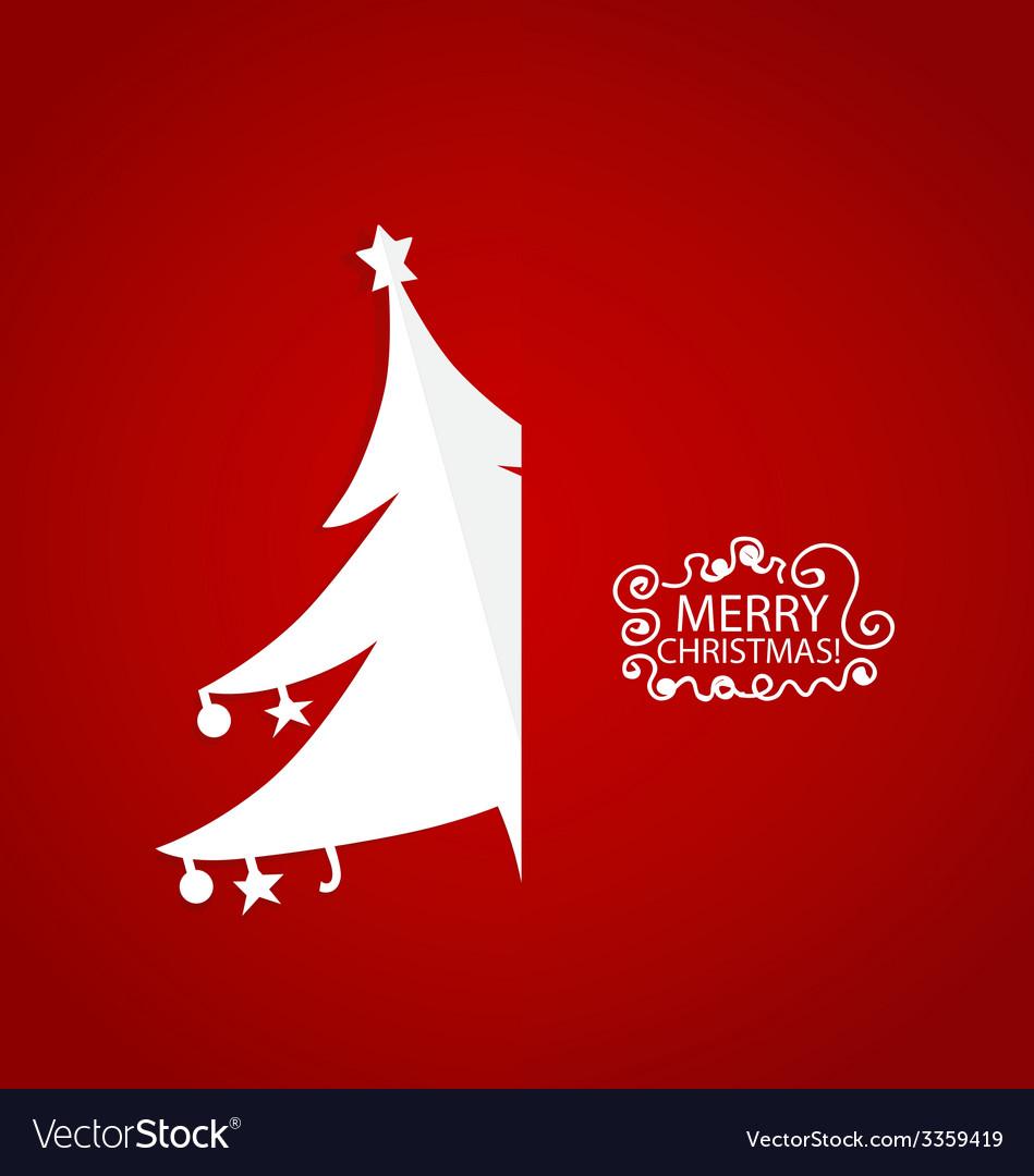 Christmas greeting card with origami christmas vector