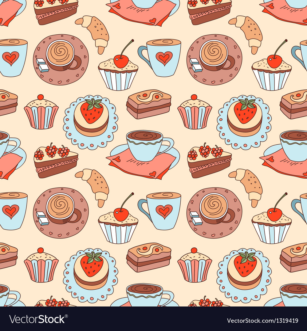 Coffee seamless cartoon pattern vector | Price: 1 Credit (USD $1)