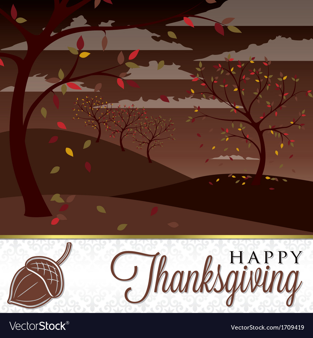 Field of trees thanksgiving card in format vector | Price: 3 Credit (USD $3)