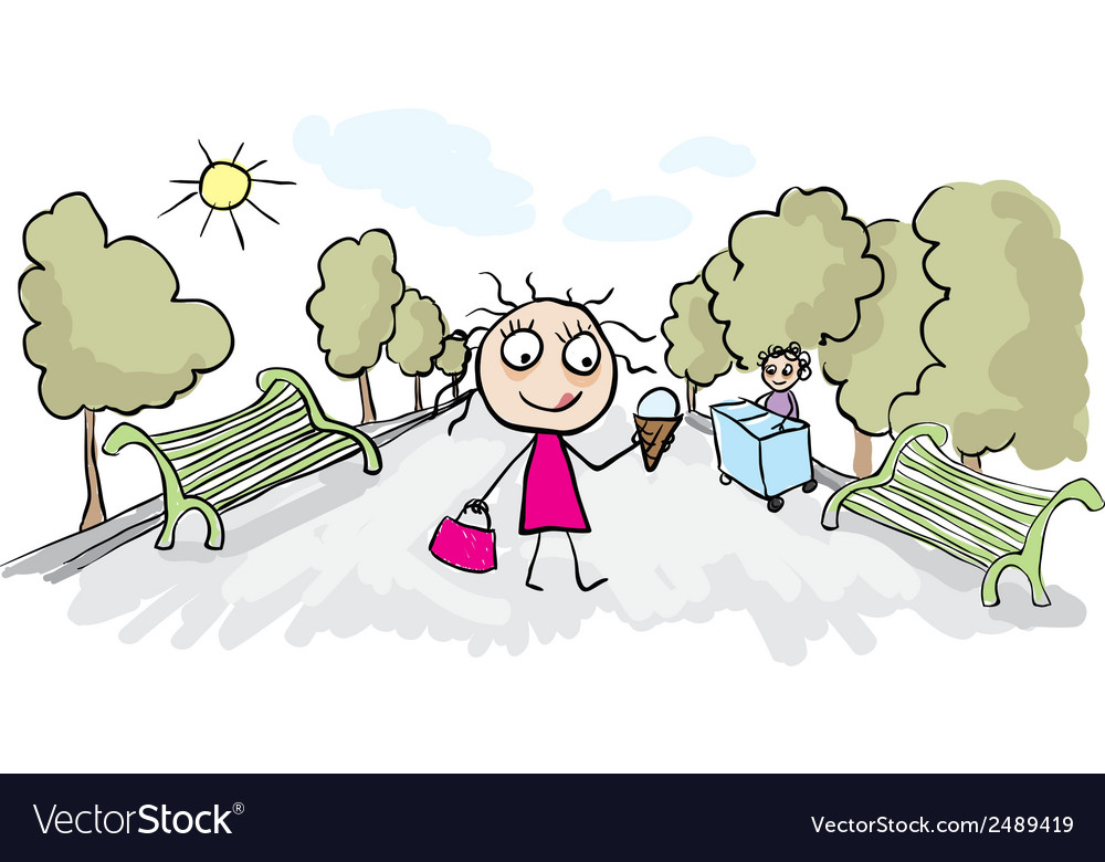 Girl eating ice cream in park vector | Price: 1 Credit (USD $1)