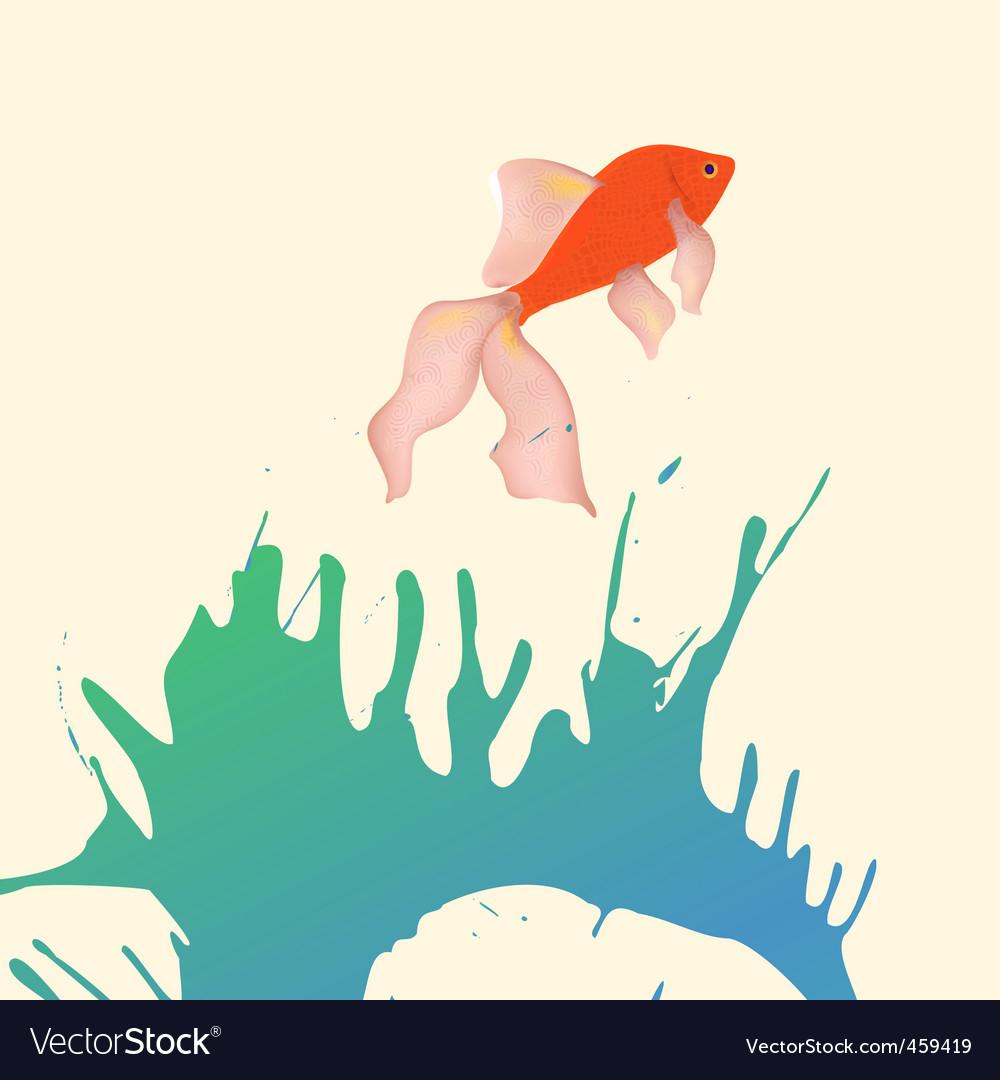 Gold fish splash vector | Price: 1 Credit (USD $1)