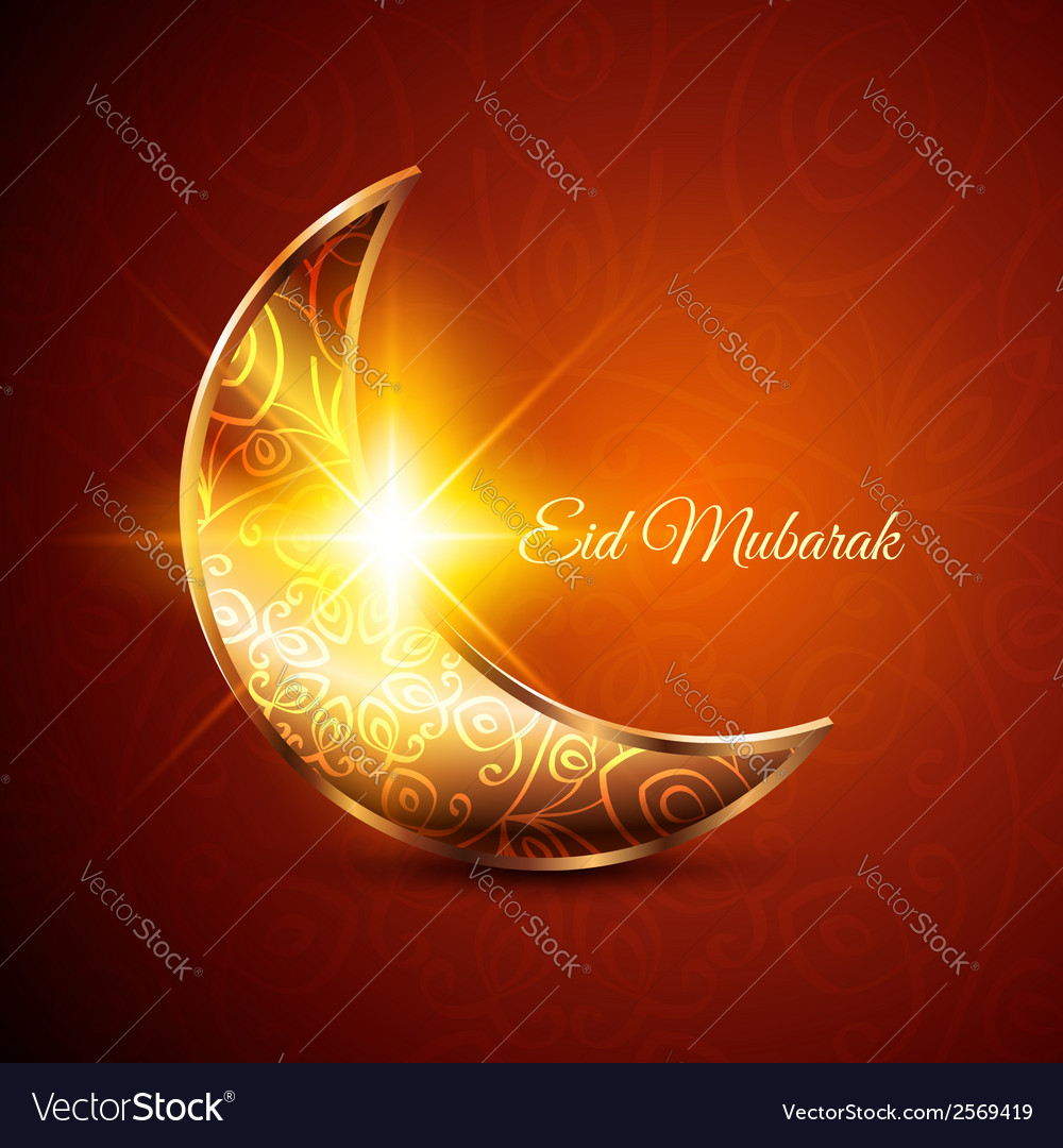 Golden moon for muslim community festival eid vector | Price: 1 Credit (USD $1)