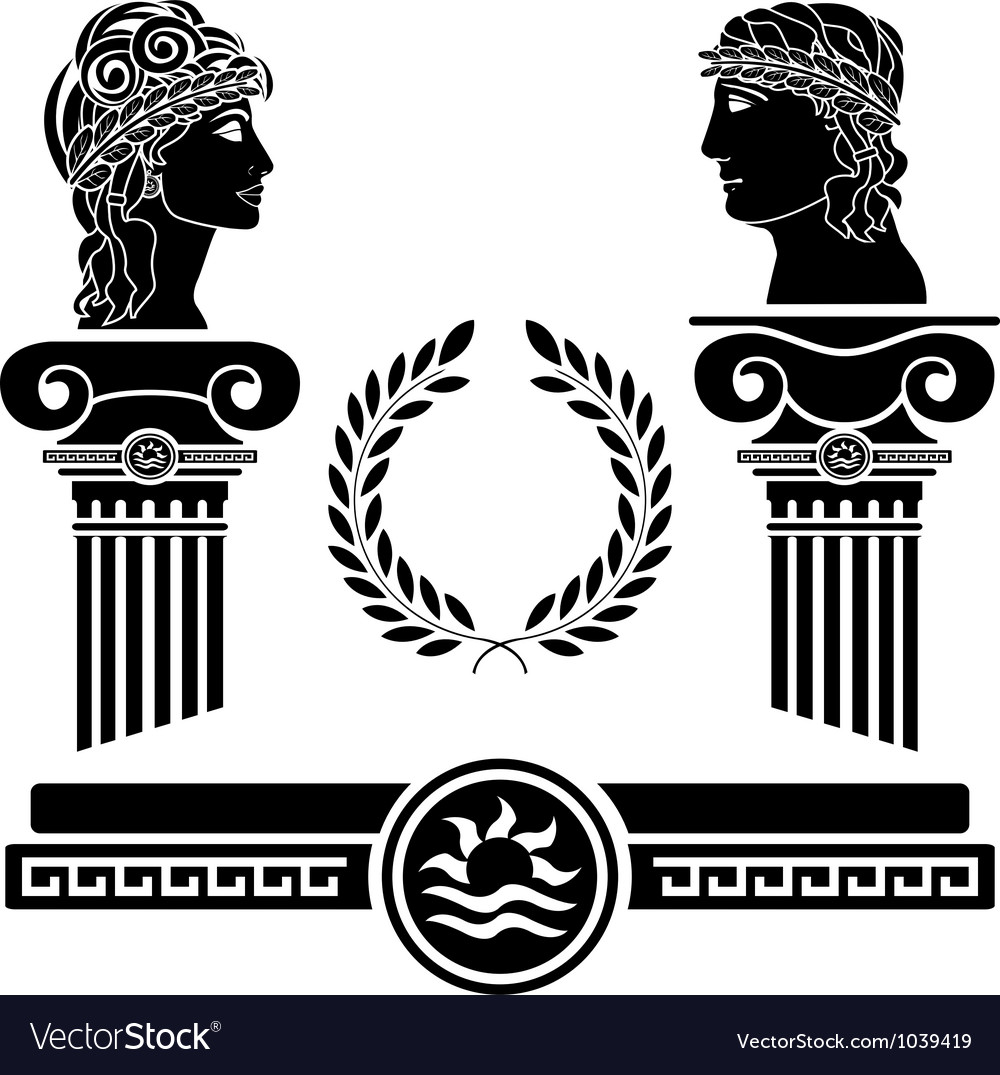 Greek columns and human heads vector | Price: 1 Credit (USD $1)