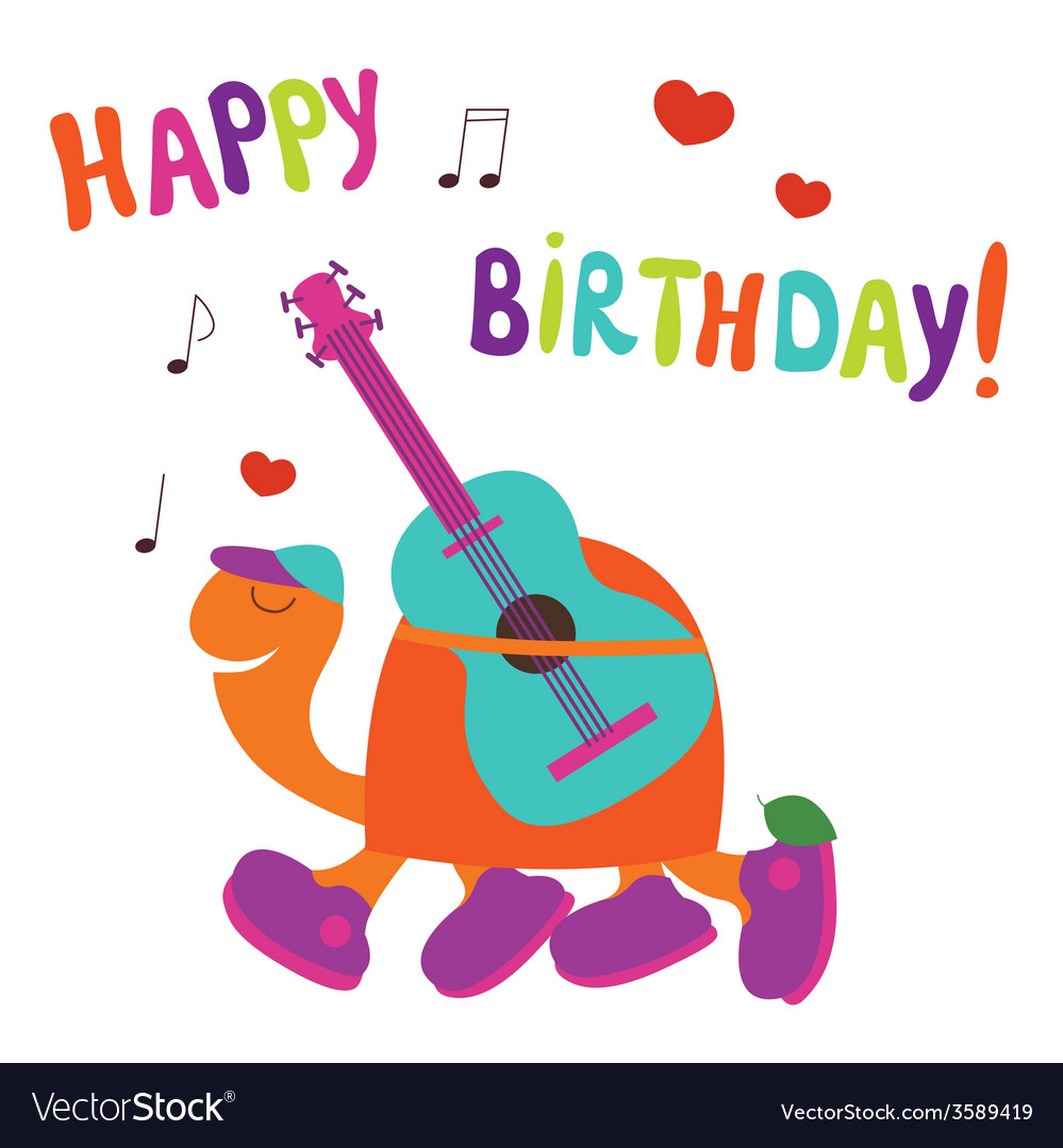 Happy birthday card with turtle guitarist vector | Price: 1 Credit (USD $1)