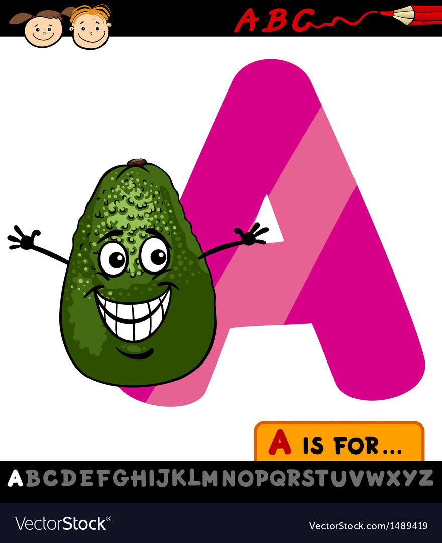 Letter a with avocado cartoon vector | Price: 1 Credit (USD $1)