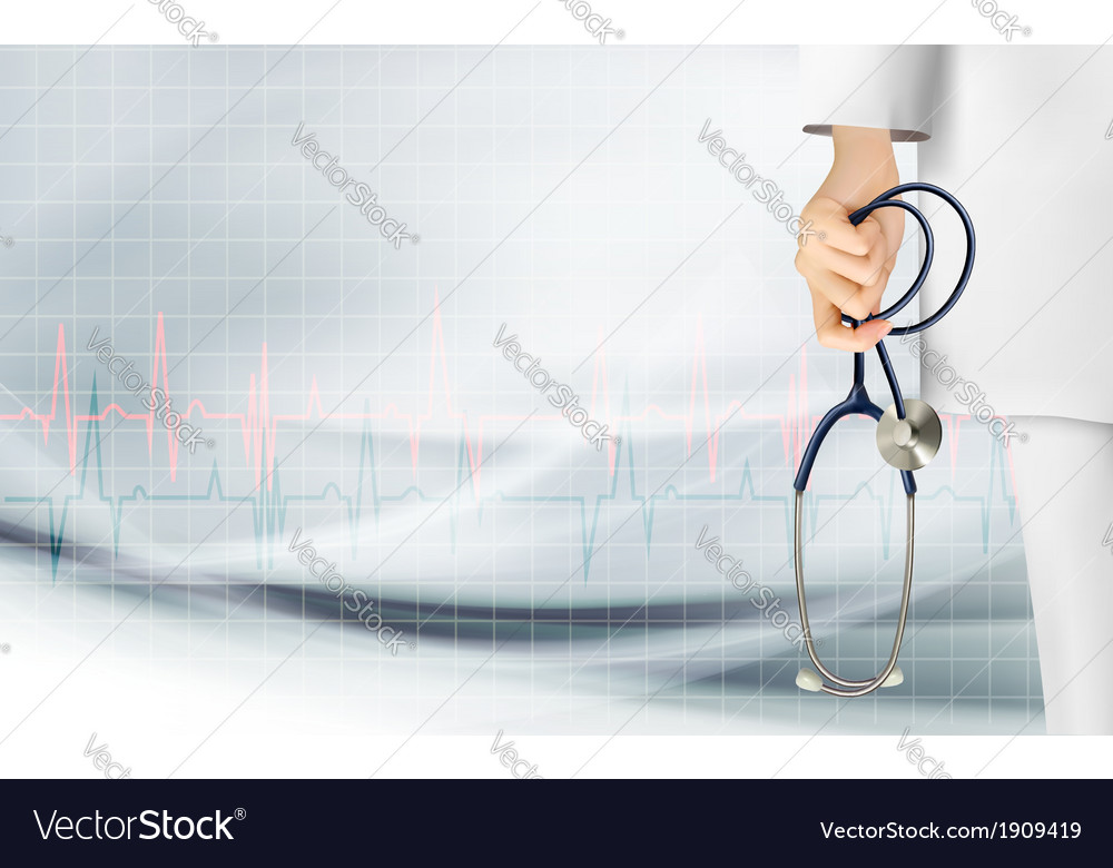 Medical background with hand holding a stethoscope vector | Price: 1 Credit (USD $1)
