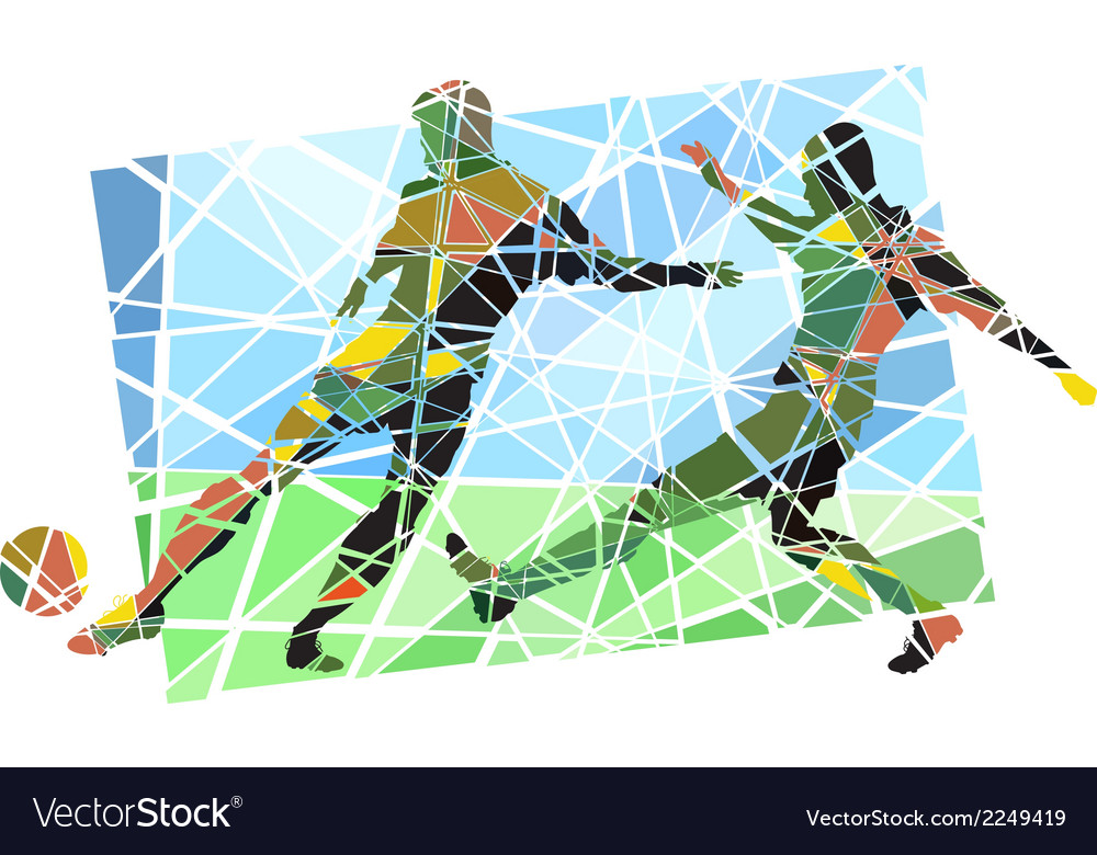 Multicolor footballers vector | Price: 1 Credit (USD $1)