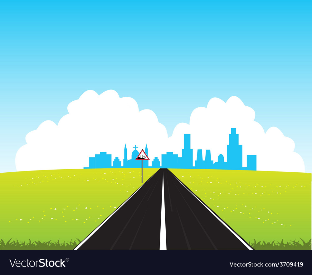 Road in city vector | Price: 1 Credit (USD $1)