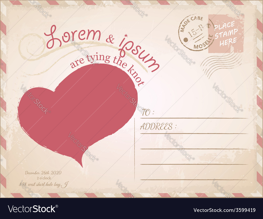 Vintage postcard wedding invitation vector | Price: 1 Credit (USD $1)