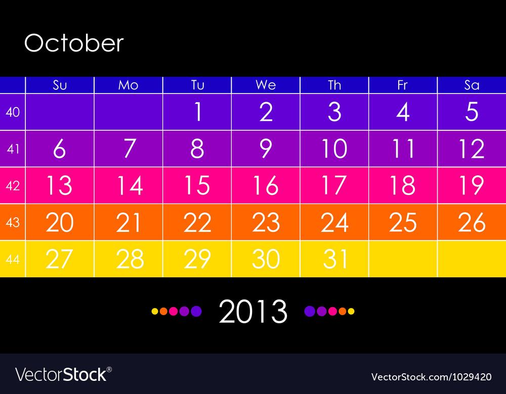 2013 october vector | Price: 1 Credit (USD $1)