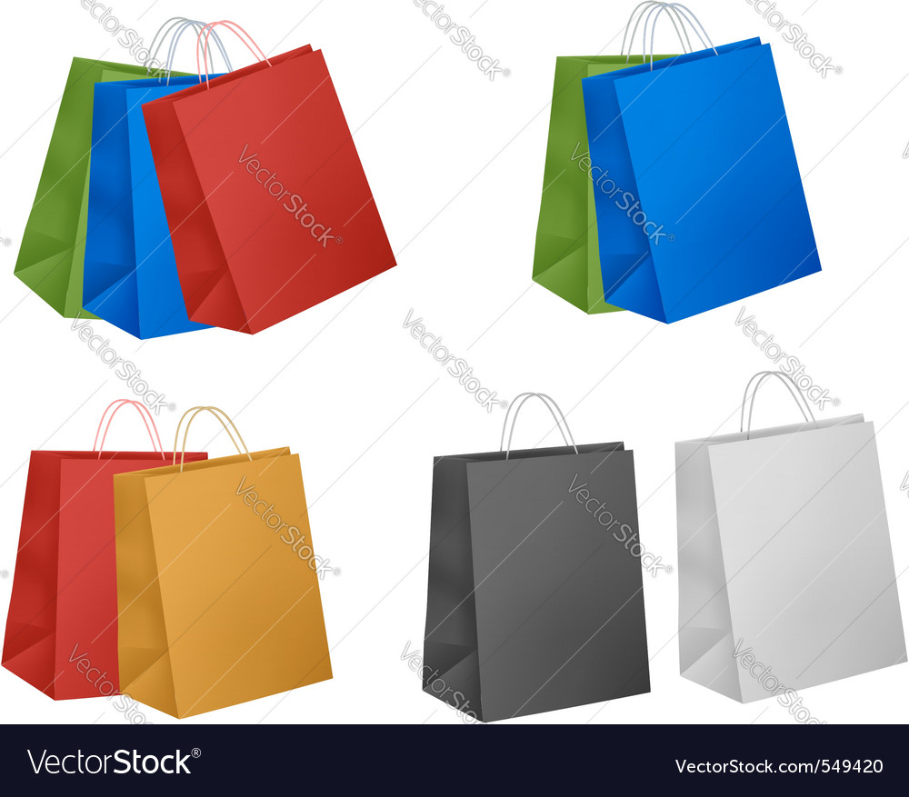 Assorted colored shopping bags vector | Price: 1 Credit (USD $1)