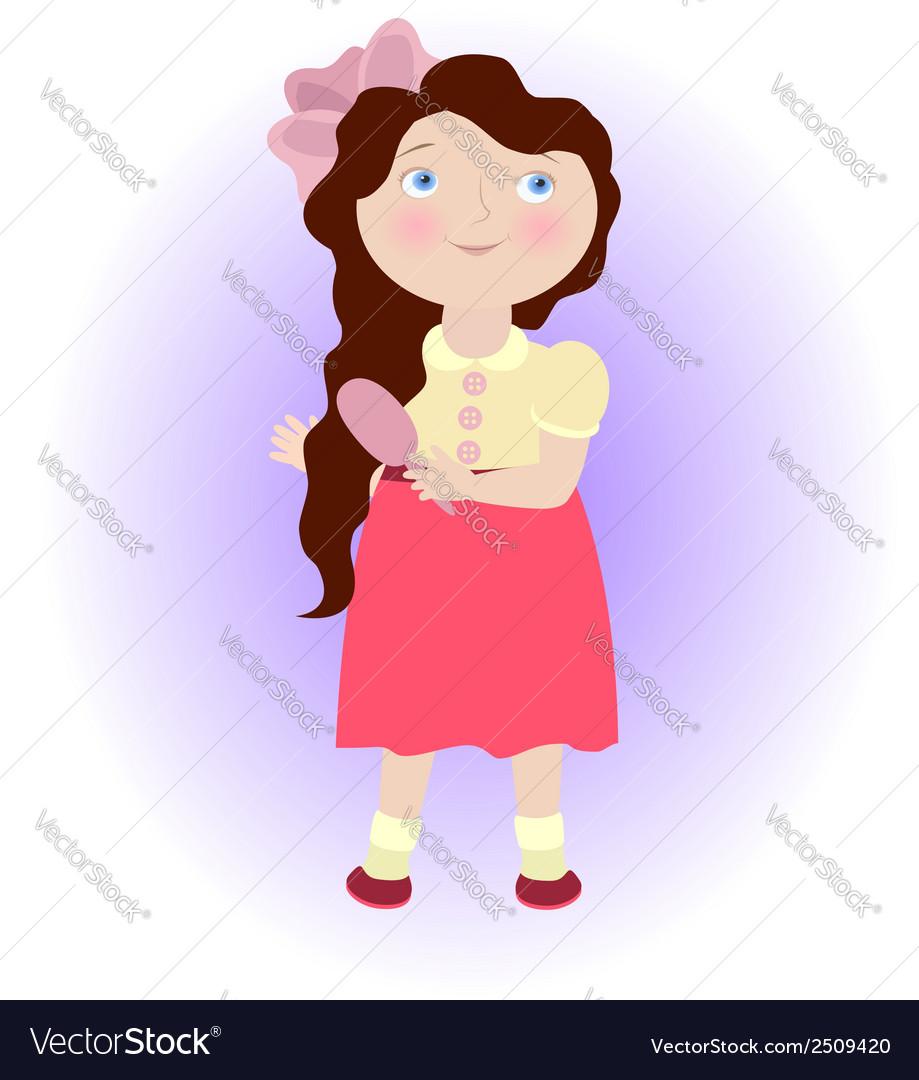 Cartoon girl with comb virgo zodiac sign vector | Price: 1 Credit (USD $1)