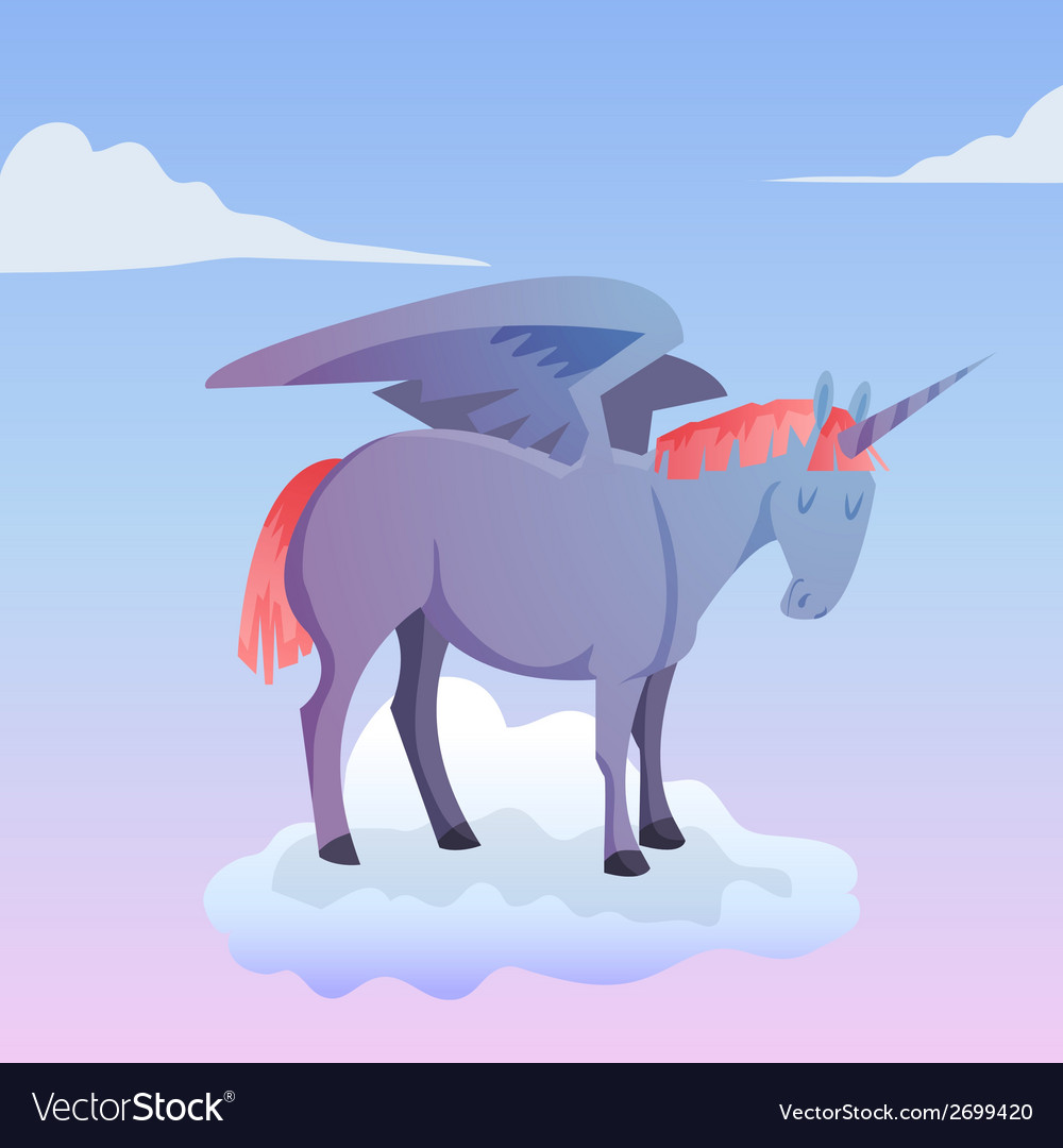 Cartoon magic unicorn pegasus vector | Price: 1 Credit (USD $1)