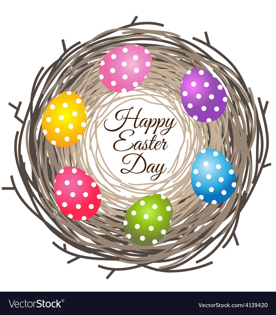 Colorful eggs in bird nest for easter day greeting vector | Price: 1 Credit (USD $1)