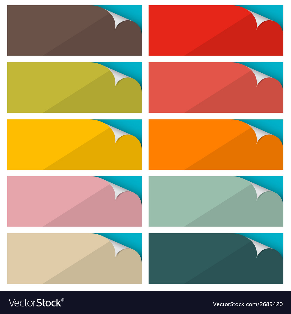 Colorful empty stickers set with bent corner vector | Price: 1 Credit (USD $1)