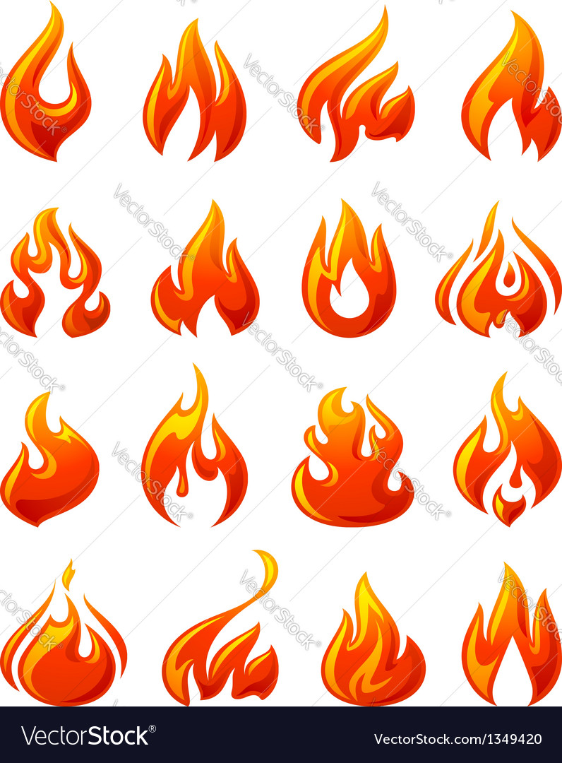 Fire flames set 3d red icons vector | Price: 1 Credit (USD $1)