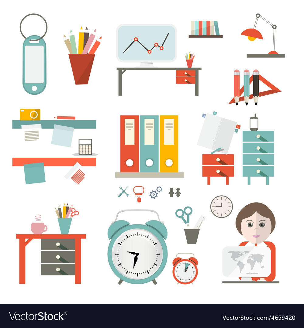 Flat design ui office supply flat design iso vector | Price: 1 Credit (USD $1)