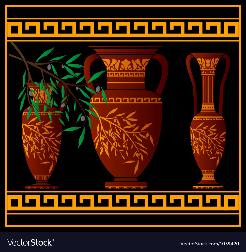 Greek red amphoras and jug vector | Price: 1 Credit (USD $1)
