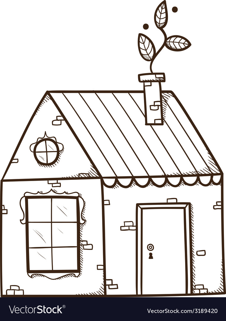 House with leaf as smoke from chimney vector | Price: 1 Credit (USD $1)