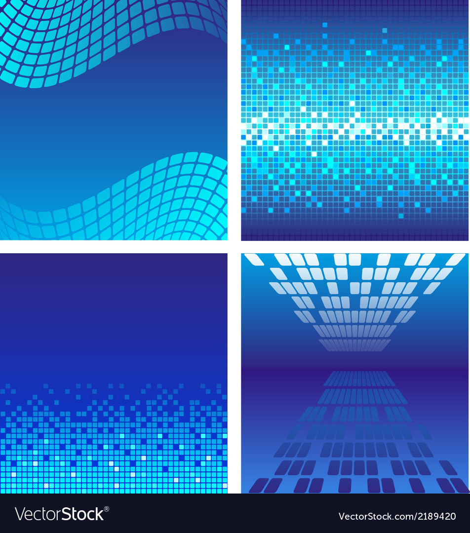Set of dark blue technology background vector | Price: 1 Credit (USD $1)
