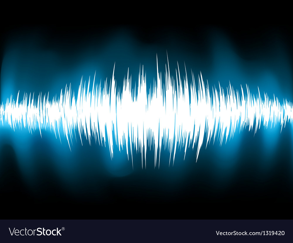 Sound waves oscillating on black background eps 8 vector | Price: 1 Credit (USD $1)