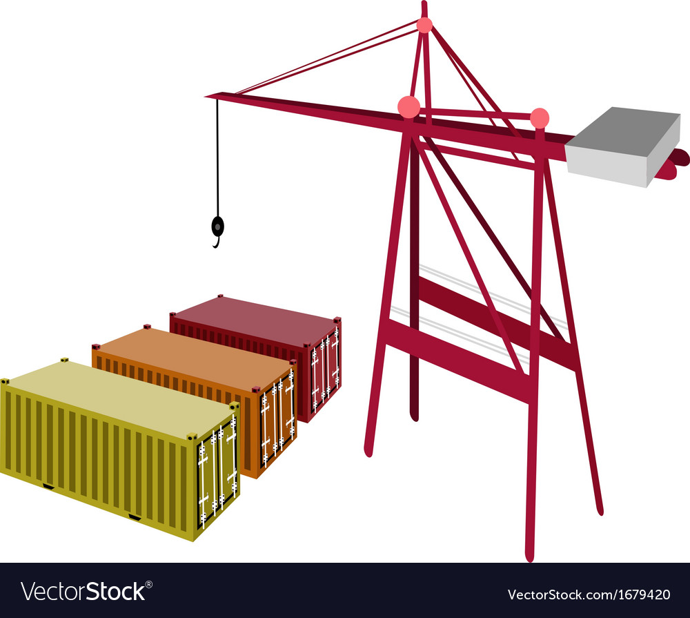 Three freight container being with a crane vector | Price: 1 Credit (USD $1)