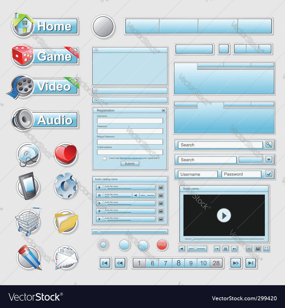Web interface set vector | Price: 3 Credit (USD $3)