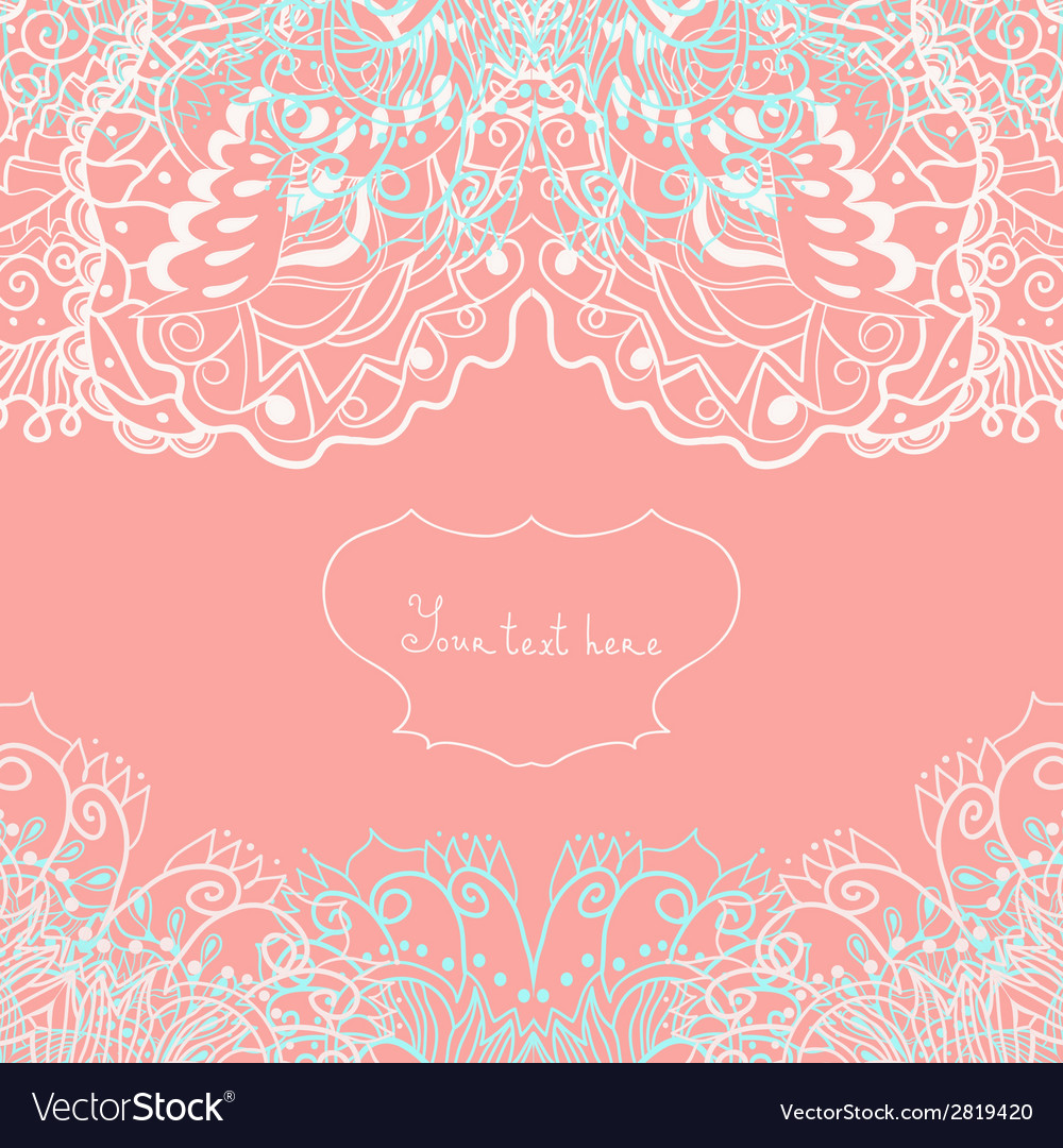 Wedding invitation or greeting card with lace vector | Price: 1 Credit (USD $1)