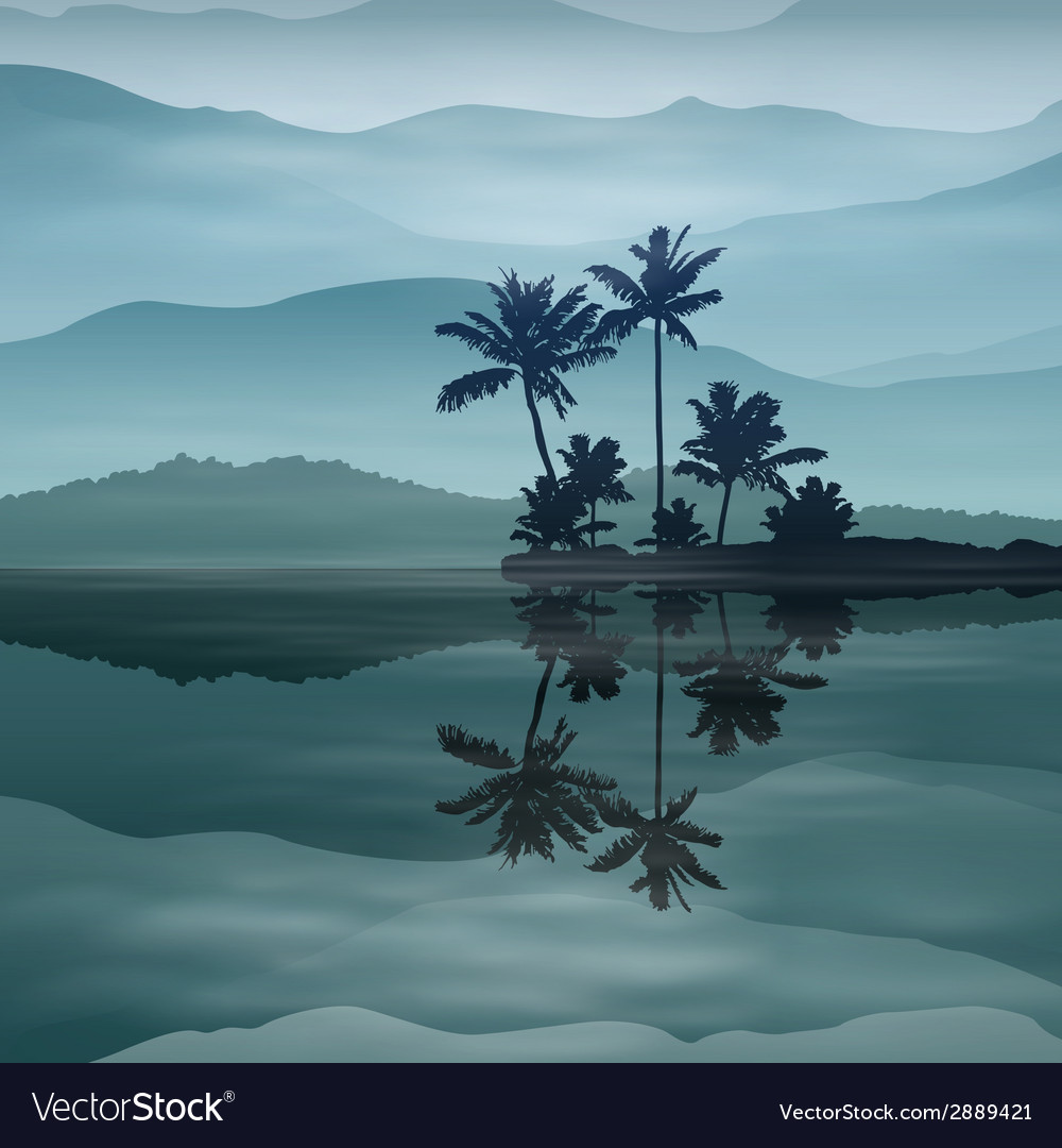 Background with sea and palm trees at night vector | Price: 1 Credit (USD $1)