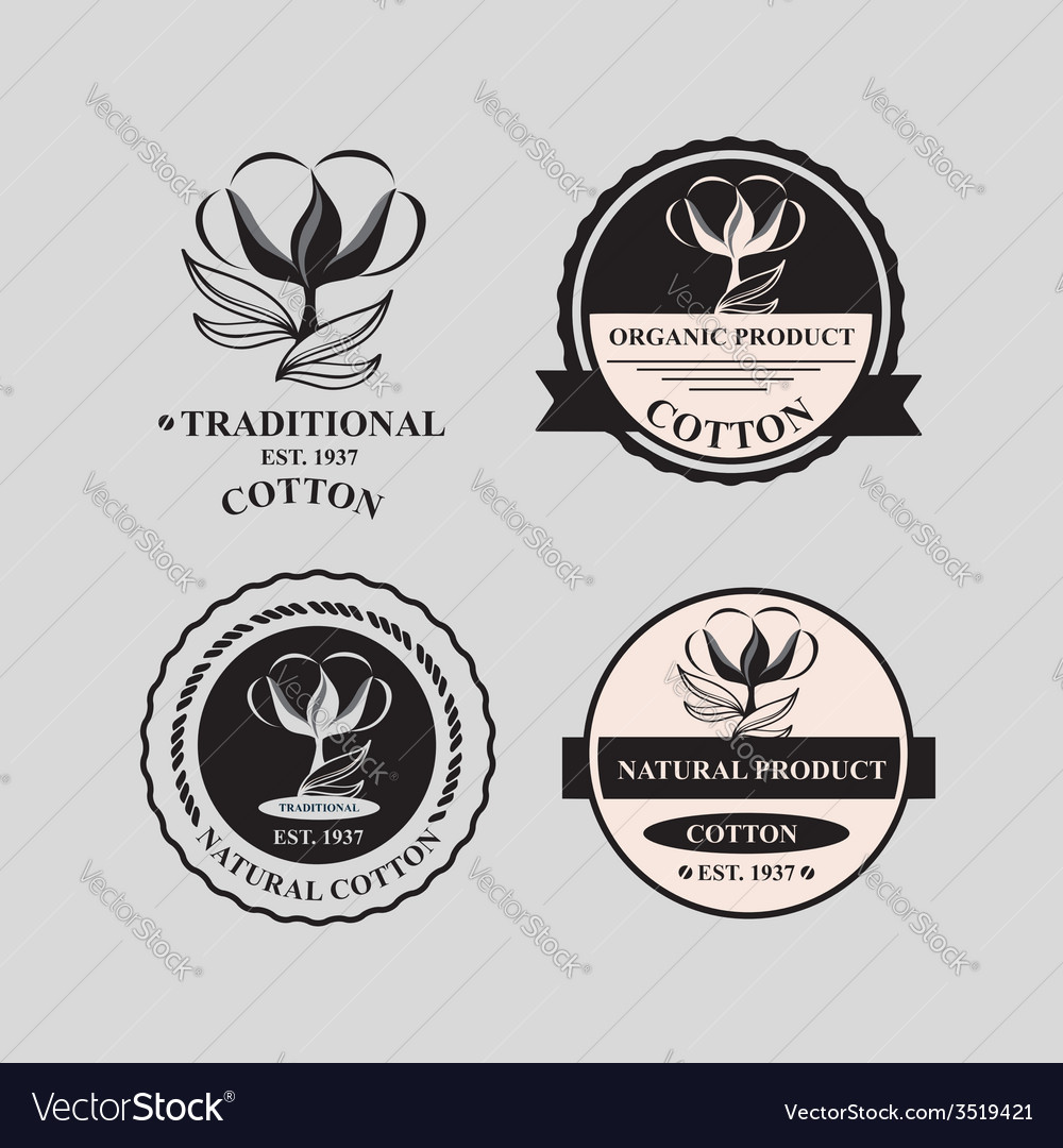 Cotton icons natural product vector | Price: 1 Credit (USD $1)