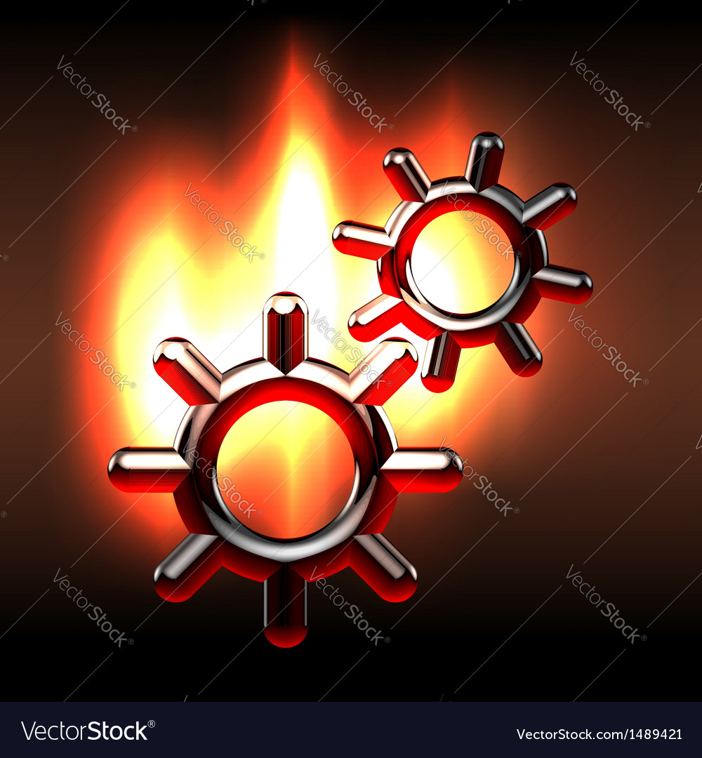Couple rotating gears in flames vector | Price:  Credit (USD $)