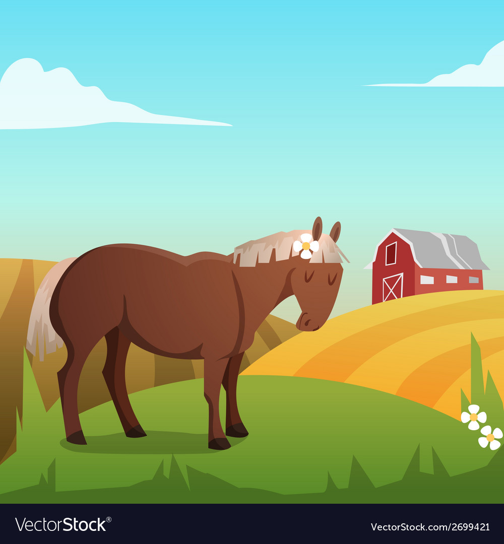 Cute horse with landscape in background vector | Price: 1 Credit (USD $1)