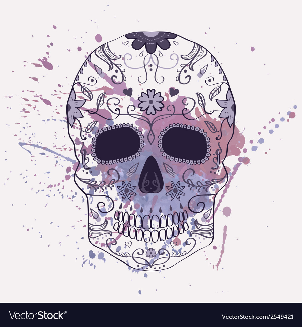 Day of the dead skull with ornament and w vector | Price: 1 Credit (USD $1)